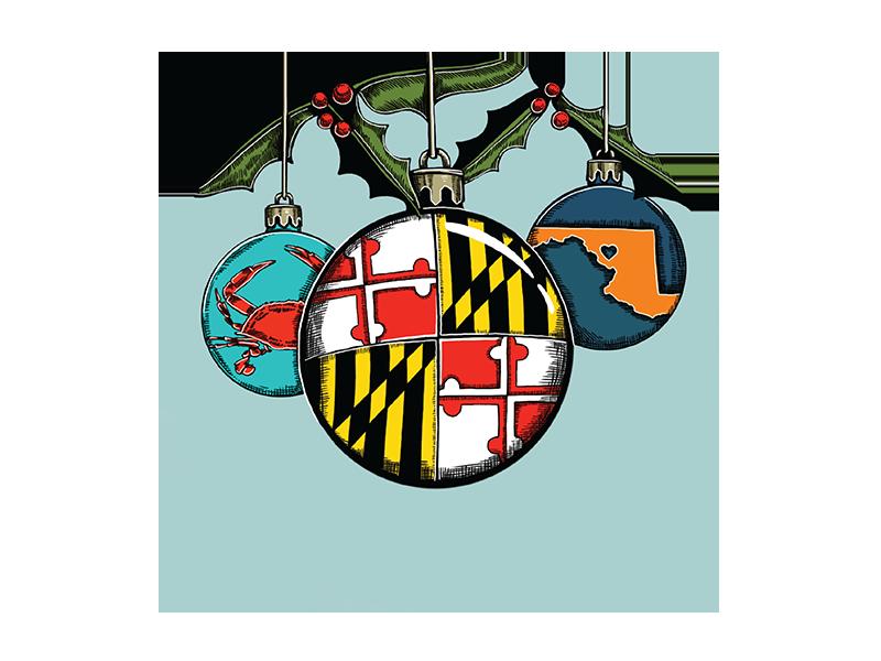 Maryland Holiday Tin Illustration